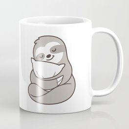 Cute sleepy sloth hugging pillow Coffee Mug