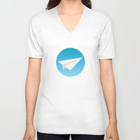 planes V-neck T-shirts featuring Paper Planes by Elle Moz