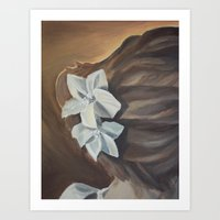 bride Art Prints featuring Bride by Lark Nouveau Studio