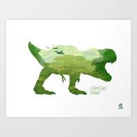 jurassic park Art Prints featuring Jurassic Park minimalist Poster by LoweakGraph