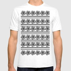 Flowers and stripes White MEDIUM Mens Fitted Tee