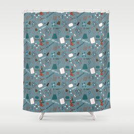 Blue Science and Math Icons Shower Curtain