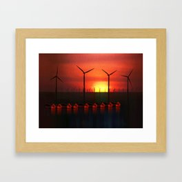 Boats at Sunset (Digital Art) Framed Art Print