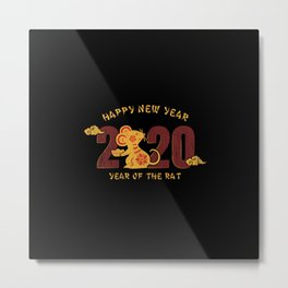 happy new year 2020 year of the rat 1 Metal Print
