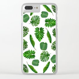 Five tropical leaves Clear iPhone Case