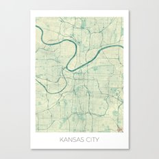 Kansas City Map Blue Vintage Canvas Print