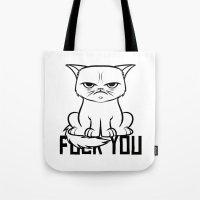 grumpy Tote Bags featuring Grumpy Grumpy by Navass