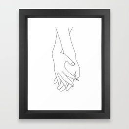 Holding hands illustration - Elana White Framed Art Print