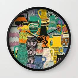 West Germany Vintage Vases by Veronique de Jong Wall Clock
