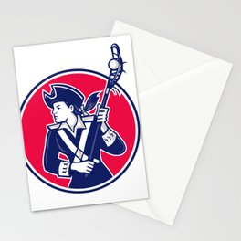 Female Lacrosse Player Patriot Mascot Stationery Cards