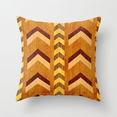 Wood Inlaid Chevrons Throw Pillow