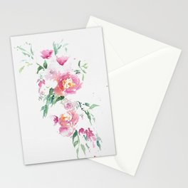 Abstract spring bouquet in bright watercolor Stationery Cards