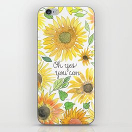 Oh Yes You Can Sunflower Watercolor Painting iPhone Skin