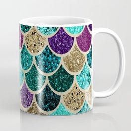 Mermaid Scales Decor, Teal, Purple, Gold Coffee Mug