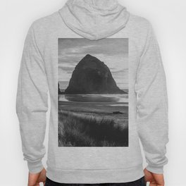 Cannon Beach Sunset - Black and White Nature Photography Hoody