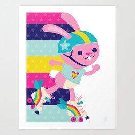 Jammer Bunny Rosa Art Print