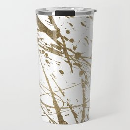Artistic white abstract faux gold paint splatters Travel Mug