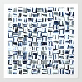 Indigo Crosshatch Pattern Art Print