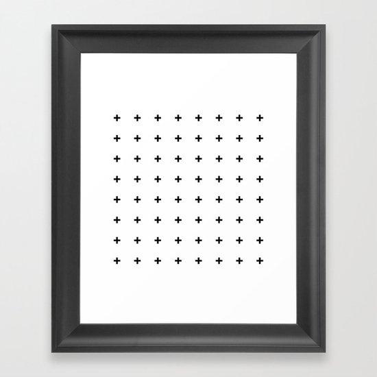 Black Plus on White /// www.pencilmeinstationery.com Framed Art Print