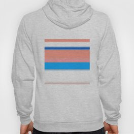 Blue Coral Blush and White Bold Stripes Hoody