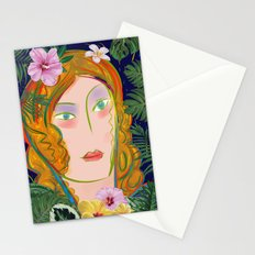Pop Girl Portrait with Flowers and Leaves Decoration Stationery Cards