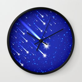 Space background with stars and comets Wall Clock