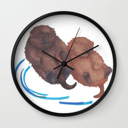 Handholding Otters Wall Clock