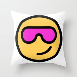 Smiley Face   Cool Sunglasses Happy Face   Cute Pink Glasses Throw Pillow