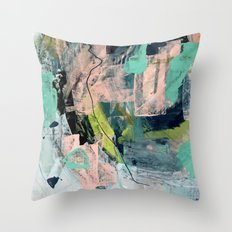 Connect [4] : a vibrant acrylic abstract in neon green, blues, pinks, & hints of orange Throw Pillow