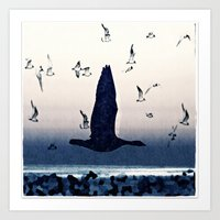 The goose and the seagulls Art Print