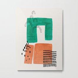 'Lock' Minimalist Mid Century Modern Funky Fun Colorful Shapes Patterns Emerald Green Tan by Ejaaz Haniff Metal Print