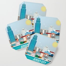 Jersey City, New Jersey - Skyline Illustration by Loose Petals Coaster