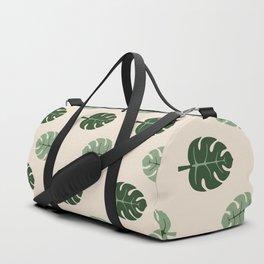 Tropical leaves Monstera deliciosa beige Duffle Bag