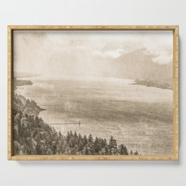 Sepia Vintage River Forest - Columbia River Gorge Serving Tray