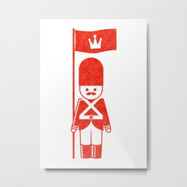 English toy soldier standard-bearer, drawing with letterpress effect. Metal Print