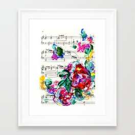 Musical Beauty - Floral Abstract - Piano Notes Framed Art Print