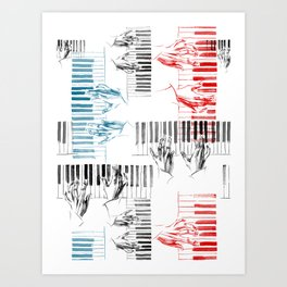 A piano pattern in black/red/blue Art Print
