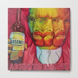 Vintage Green Fairy Absinthe Aperitif Red Vincent van Gogh Lithograph Advertisement Poster Metal Print