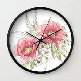 Watercolor Flowers - Garden Roses Wall Clock