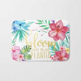 Bloom Where You Are Planted Gold Foil Bath Mat