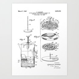 Coffee Filter Patent - Coffee Shop Art - Black And White Art Print