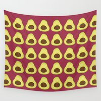 avocado Wall Tapestries featuring Pattern #8: Avocado by Paper Piglets