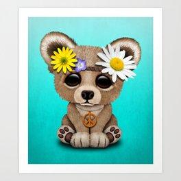 Cute Baby Bear Hippie Art Print