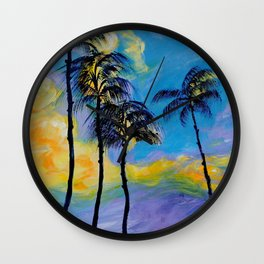 Moon over Palm Trees Wall Clock