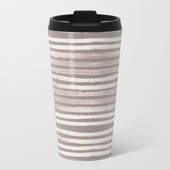 Simply Shibori Stripes Lunar Gray and Red Earth Metal Travel Mug