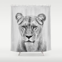 Lioness - Black & White Shower Curtain