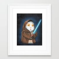 guinea pig Framed Art Prints featuring Jedi Guinea Pig by When Guinea Pigs Fly
