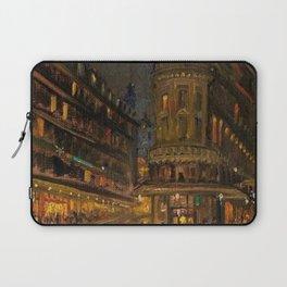 Parisian Cafe, Paris City & Neon Lights romantic landscape painting by Konstantin Korovin Laptop Sleeve