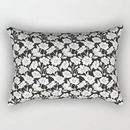Black & white Floral Print Pattern Rectangular Pillow