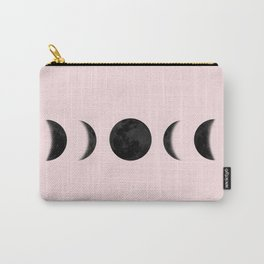 Moon Phases Art Print, Black And White Carry-All Pouch